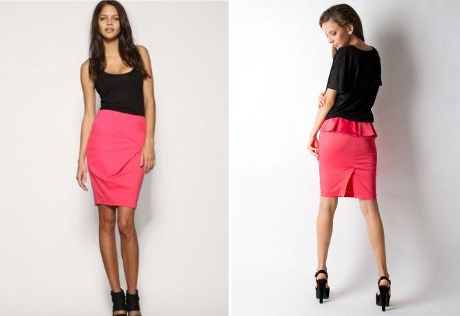 юбка карандаш розового цвета