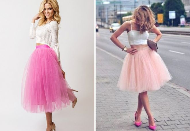 розовая фатиновая юбка