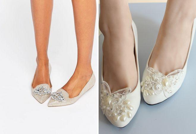 f215bf409 Женские белые свадебные туфли на низком каблуке и без, на танкетке ...