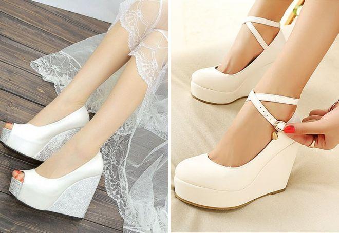 5102dad70 Женские белые свадебные туфли на низком каблуке и без, на танкетке ...