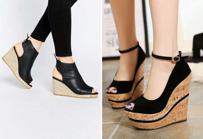 Модные женские туфли на танкетке – черные 22a729dc6724c