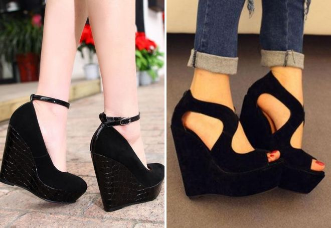 712617221 Модные женские туфли на танкетке – черные, бежевые, красные, синие ...
