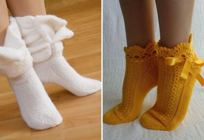 красивые вязаные носки тапочки кеды ажурные и теплые с рисунком