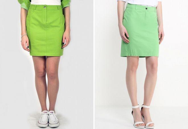 джинсовые зеленые юбки