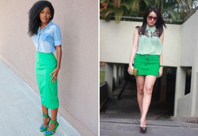 модные джинсовые зеленые юбки