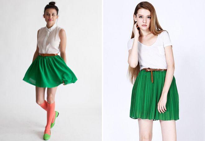 шифоновая зеленая юбка