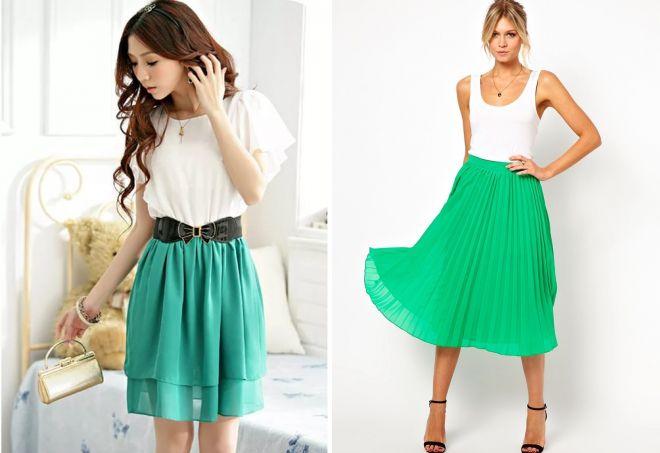 красивая шифоновая зеленая юбка