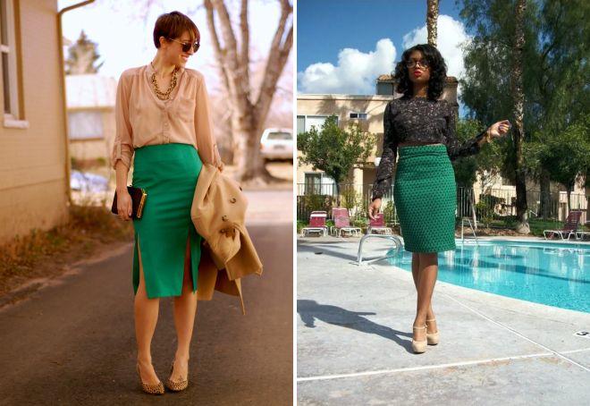 зеленая юбка миди