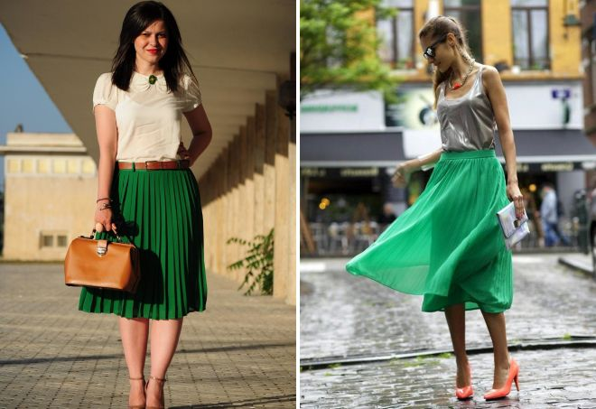 девушки в зеленых юбках