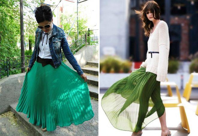 плиссированная зеленая юбка