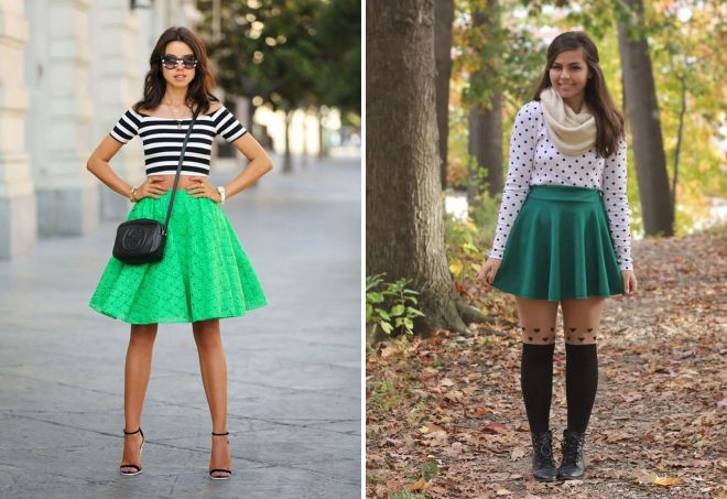 зеленая юбка плиссе
