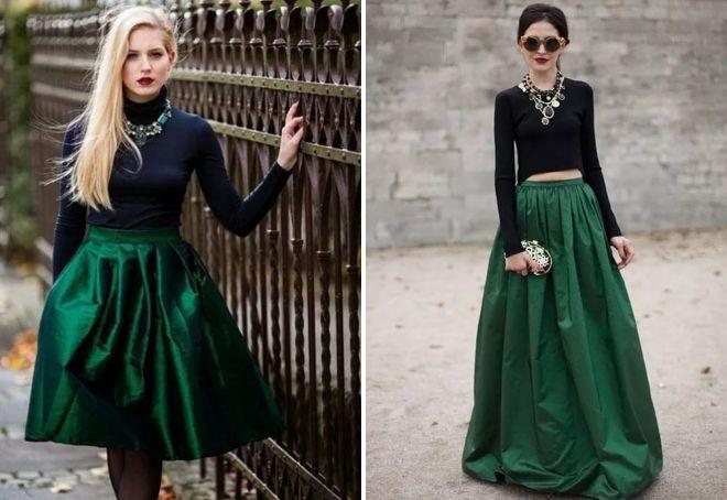 длинная зеленая юбка