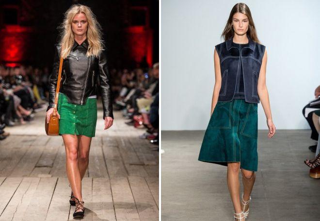 зеленая замшевая юбка