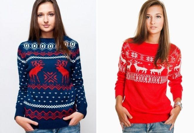 женский свитер с оленями 1