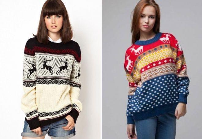 Женский свитер с оленями 10