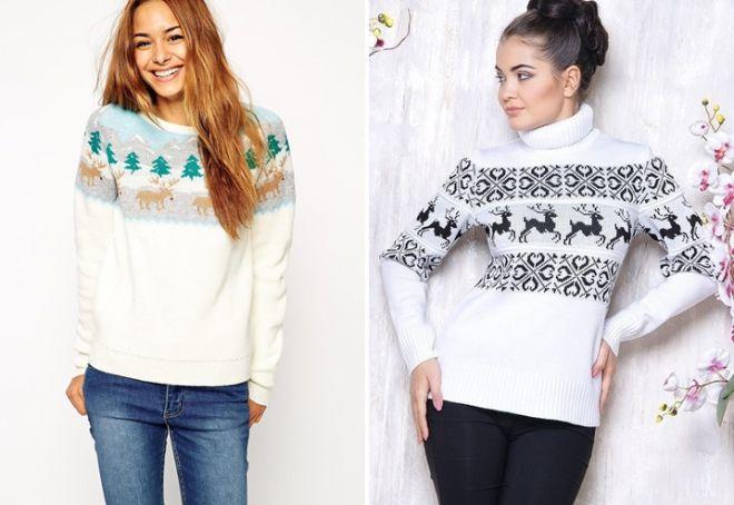Женский свитер с оленями 11