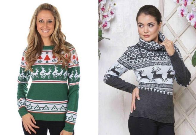 женский свитер с оленями 2