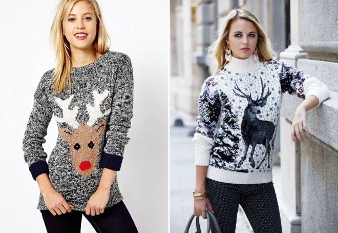 Женский свитер с оленями 6