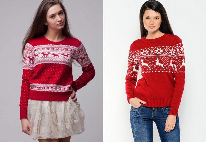 Женский свитер с оленями 7