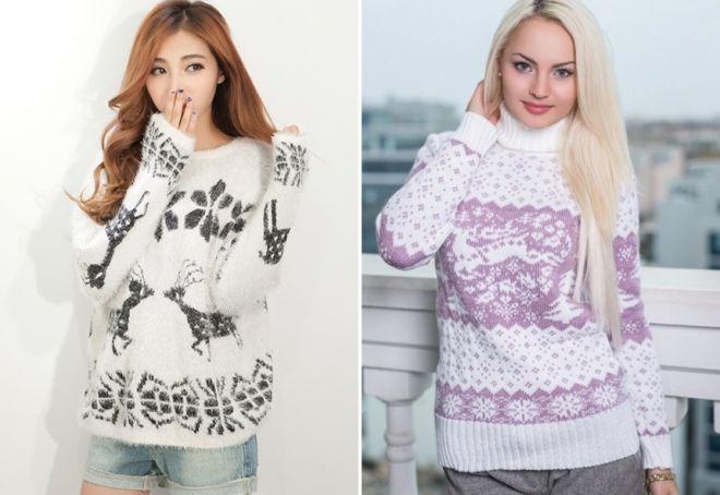Женский свитер с оленями 9