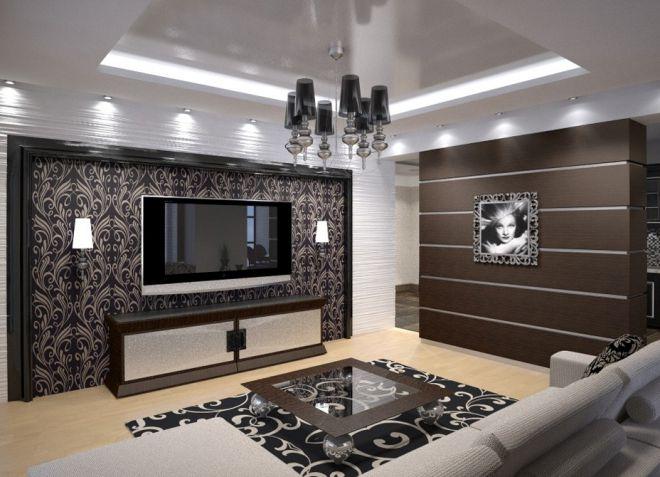 Гостиная в стиле модерн - дизайн мебели, шторы и обои