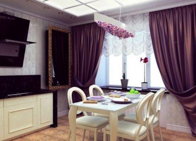 Сиреневые шторы в интерьере, в спальню, на кухню