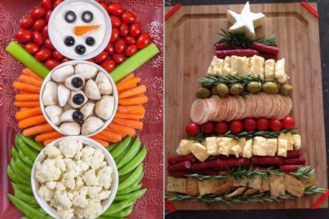 Оригинально выложенные закуски для новогоднего стола 2020