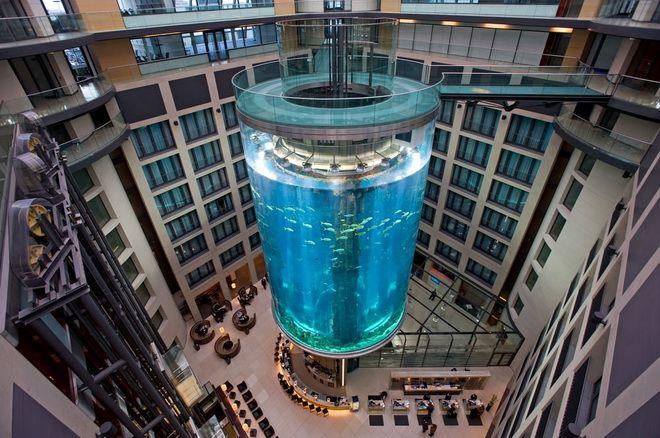 Лифт в аквариуме AquaDom, Германия