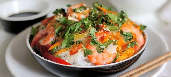 Фунчоза с креветками - рецепт