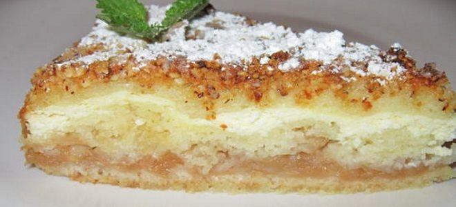 насыпной яблочный пирог с творогом