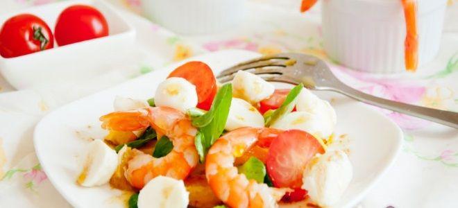 рецепт легкого салата с креветками без майонеза