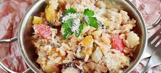 ризотто с морепродуктами в сливочном соусе