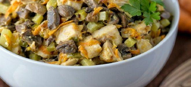 Салат из вареной курицы и шампиньонов жареных