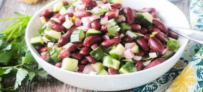 Вкусный салат с фасолью консервированной