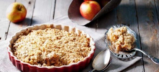 Овсяный крамбл с яблоками - рецепт пошаговый с фото