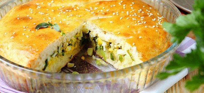 заливной пирог на кефире с картофелем