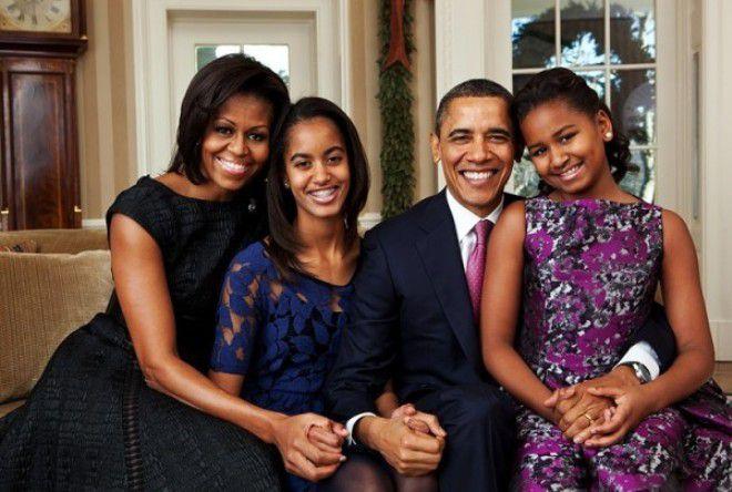 Барак Обама с женой и дочками