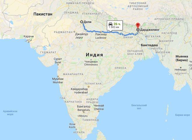 Дарджилинг на карте Индии