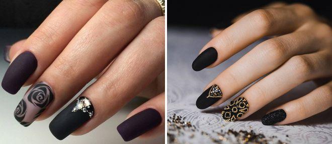 матовые черные ногти 2018