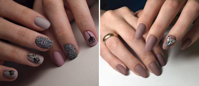 бежевые матовые ногти 2018 год
