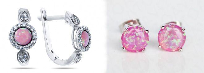 серебряные серьги с розовым опалом