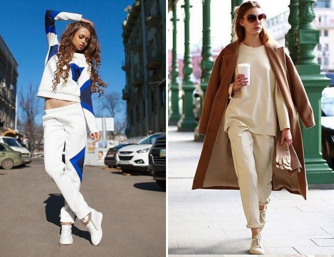 женский белый вязаный брючный костюм 2018