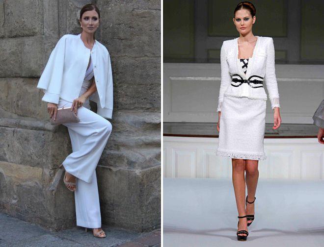 стильный белый костюм