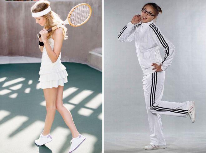 брендовый белый женский спортивный костюм