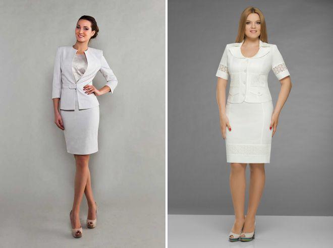 строгий женский белый костюм
