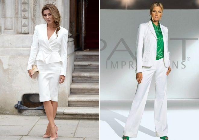 строгий женский белый костюм 2018