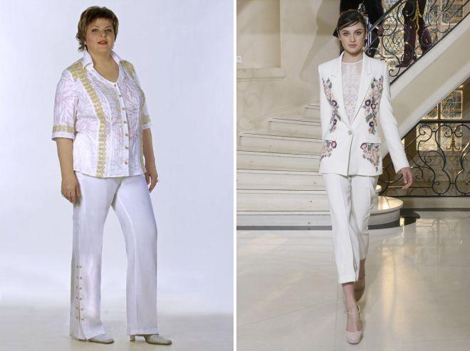 европейский женский белый деловой костюм