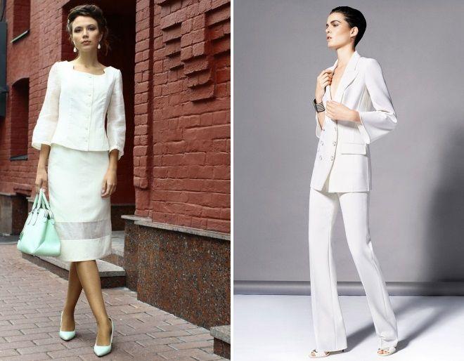женский белый деловой костюм 2018