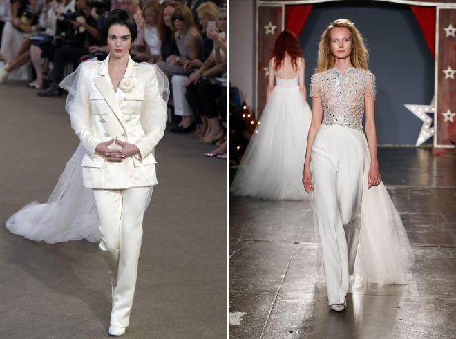 свадебный женский белый брючный костюм