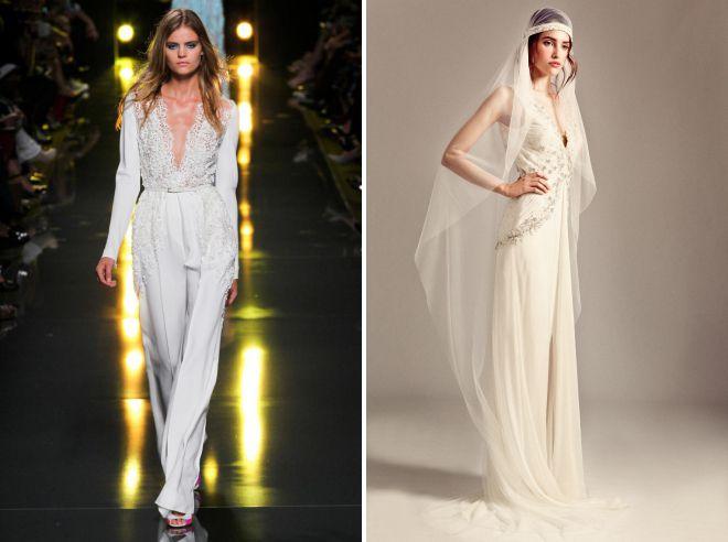 жеснкий белый брючный костюм для свадьбы